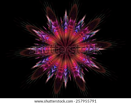 Floral kaleidoscope patterned abstract fractal background - stock photo