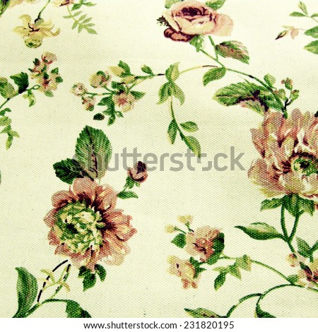 floral linen background with traditional victorian roses pattern, square toned image, instagram effect - stock photo
