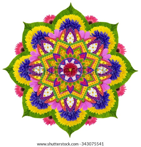 Floral mandala - the Sacred Sky Lotus- made from fresh summer flowers and plants. Isolated handmade abstract collage - stock photo