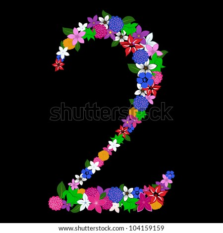 Floral numeral for using in web and print design