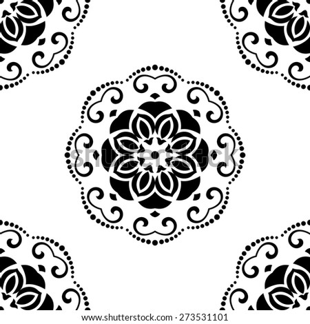Floral  oriental pattern with damask and floral elements. Seamless abstract ornament for backgrounds. Black and white colors