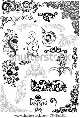floral ornament elements collection isolated on white background - stock photo
