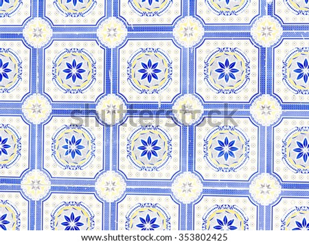 floral ornament on tiles - stock photo