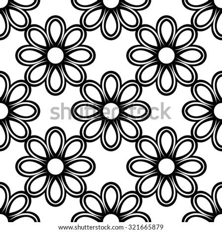 Floral  ornament. Seamless abstract classic black and white pattern - stock photo
