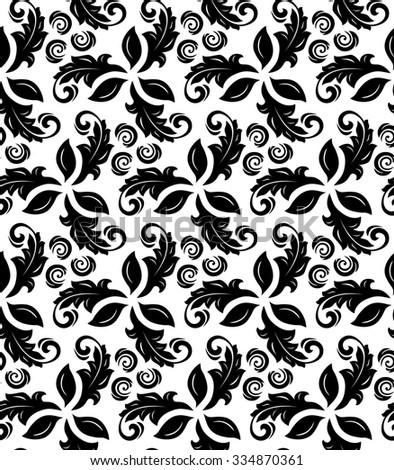 Floral  ornament. Seamless abstract classic fine black and white pattern - stock photo