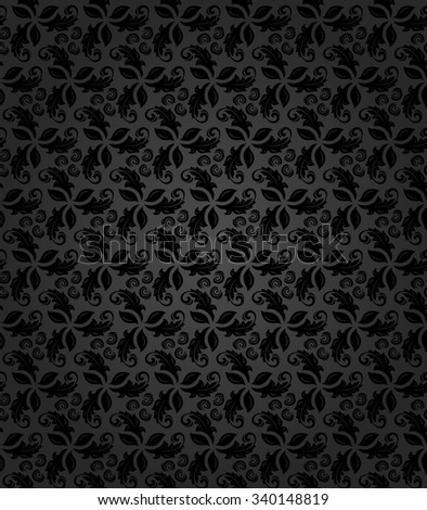 Floral  ornament. Seamless abstract classic fine dark pattern - stock photo