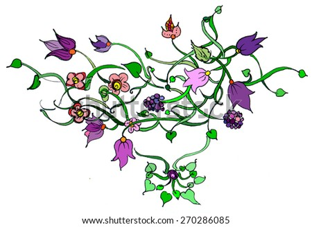 Floral ornament with leaves flowers and berries - stock photo
