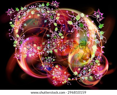 Floral ornament with leaves flowers and berries and fractal background - stock photo