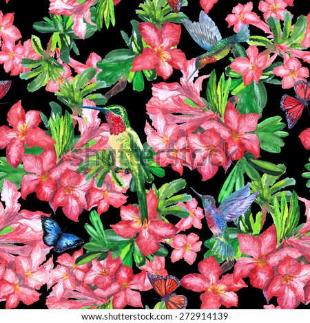 Floral pattern all-over on a dark background. Blooming red flowers, bird on a branch, flying butterflies - vivid jungle ornament.watercolor illustration - stock photo