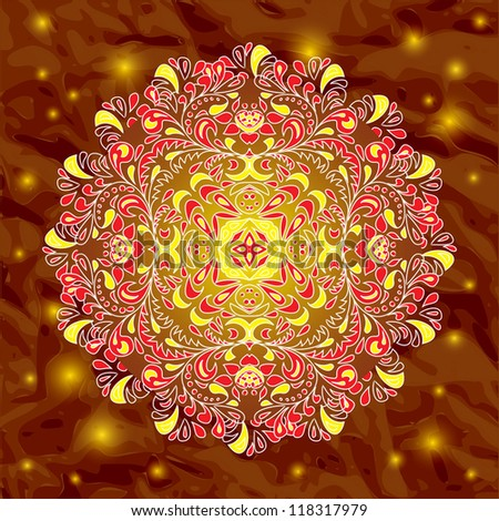 floral pattern gold hohloma circle on dark background - stock photo