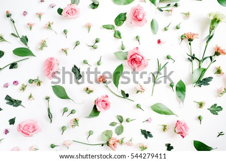 Flower stock images royalty free images vectors shutterstock floral pattern made of pink and beige roses green leaves branches on white background altavistaventures Images