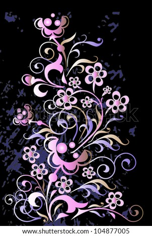 floral pattern on a black background - stock photo