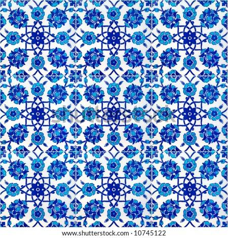 Floral pattern on old Turkish tiles, Istanbul, Turkey - stock photo