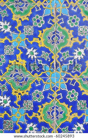Floral pattern on turkish tiles - stock photo