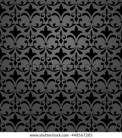 Floral pattern. Wallpaper baroque, damask. Seamless  background. Black ornament. Stylish graphic design. - stock photo