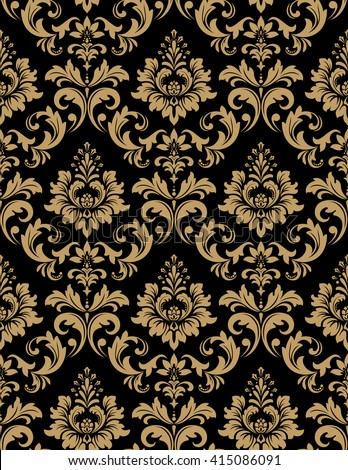 Floral pattern. Wallpaper baroque, damask. Seamless background. Gold and black ornament - stock photo