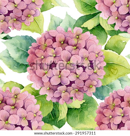 Floral pattern. Watercolor seamless background. Pink hydrangea - stock photo