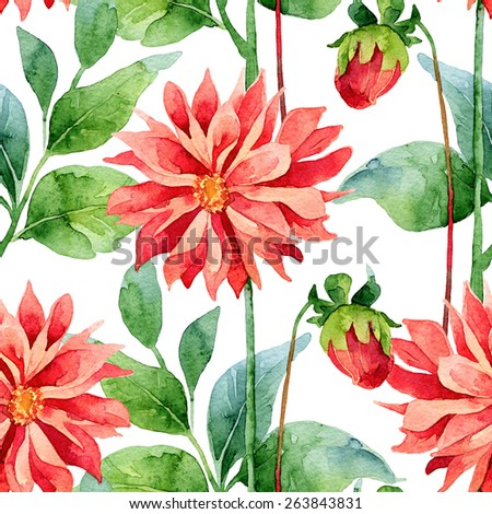 Floral pattern. Watercolor seamless background. Red dahlias - stock photo