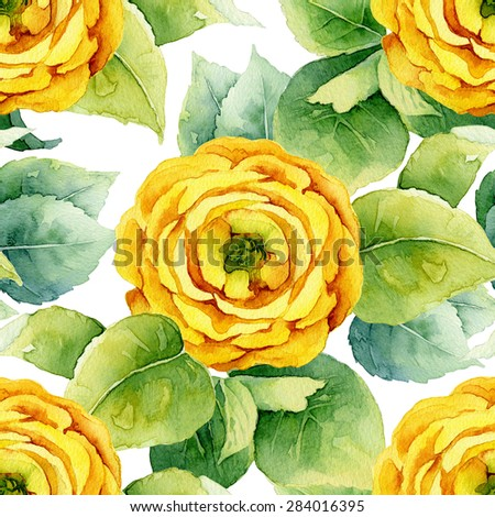 Floral pattern. Watercolor seamless background. Yellow ranunculus - stock photo