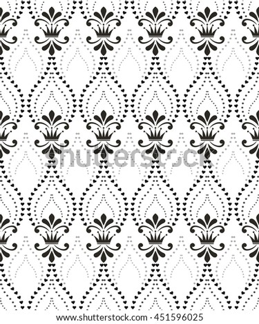 Floral pattern with crowns. Wallpaper baroque, damask. Seamless  background. White and black ornament. Stylish graphic design. - stock photo