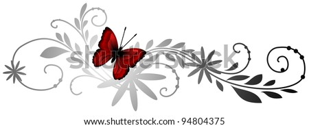 Floral pattern with red butterfly - stock photo