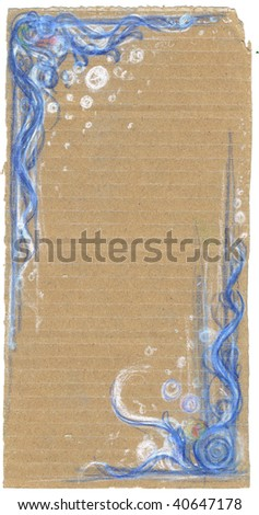 floral patterns on brown paper background - stock photo