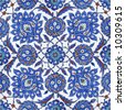 Floral patterns on Ottoman tiles, istanbul, turkey - stock photo