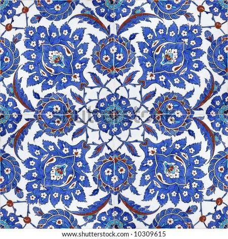 Floral patterns on Ottoman tiles, istanbul, turkey - stock photo