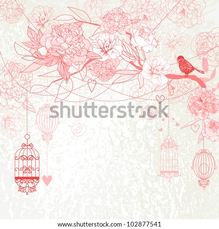 Floral pink background. Birds, cages, tree, peonies. - stock photo