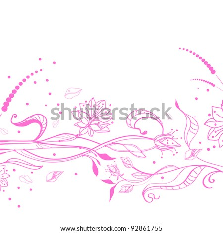 Floral pink background over white