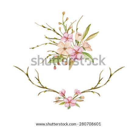 Floral posy and wreath. Floral watercolor composition. Hand drawn watercolor illustration. Bouquet of spring flowers, leaves and branches - stock photo