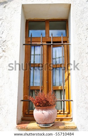 Floral potted arrangement in iron gated window sill - stock photo