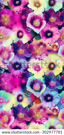 Floral print in multicolor. - stock photo