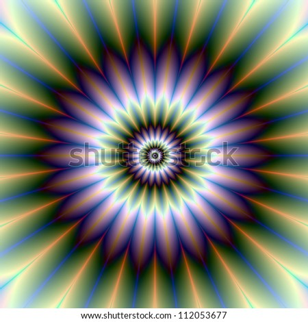 Floral Rosette/Digital abstract image with a floral rosette design in green, blue, purple, white and yellow.