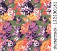 Floral seamless abstract flower pattern - stock photo