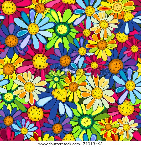 Floral seamless colorful vivid pattern with flowers - stock photo