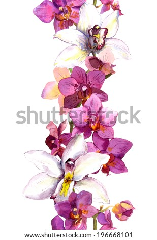 Floral seamless frame border with bright exotic flowers orchid. Aquarelle - stock photo