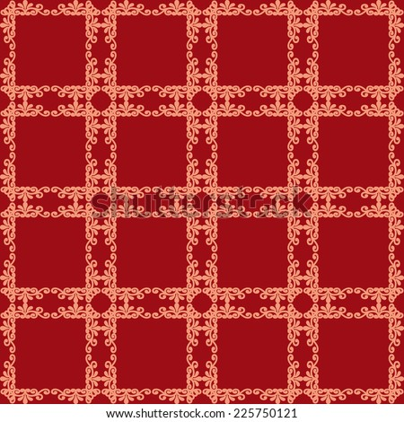 Floral seamless in damask style design pattern red texture background - stock photo