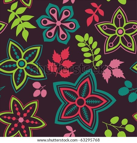 Floral seamless pattern and leaf