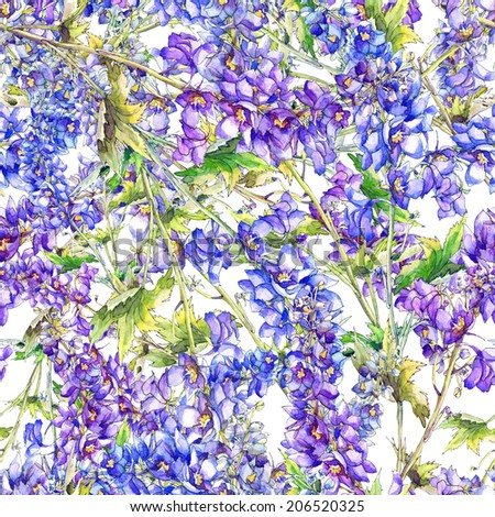 Floral Seamless Pattern.Blue Delphinium Flowers Watercolor hand painting.