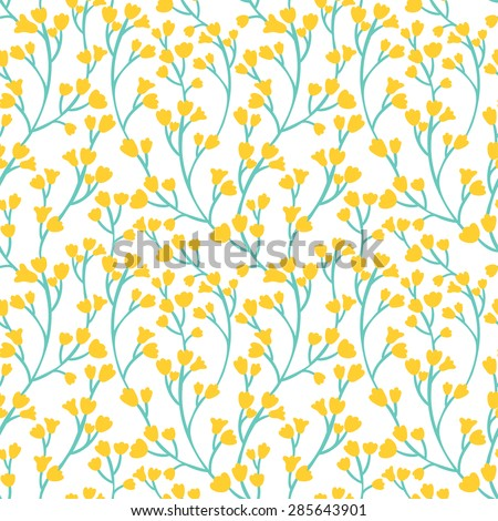 Floral seamless pattern. Bright natural texture with yellow flowers. Summer hand drawing background. - stock photo