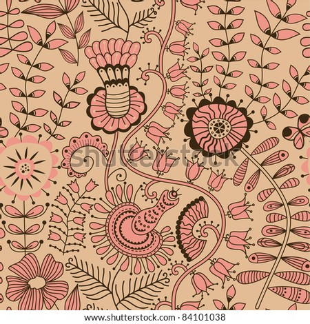 Floral seamless pattern, endless texture with flowers. Vector background for textile design.