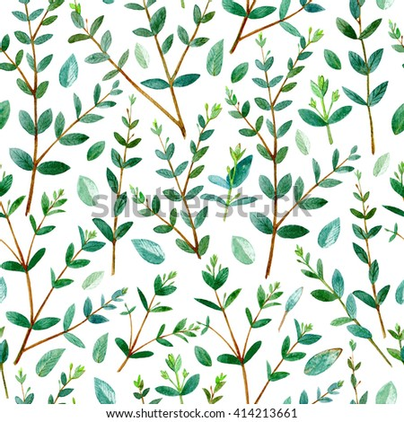 Floral seamless pattern.Eucalyptus branches.Pattern for fabric, paper and other printing and web projects.Watercolor hand drawn illustration. - stock photo