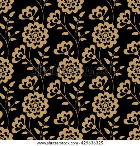 Floral seamless pattern. Illustration in retro style. - stock photo