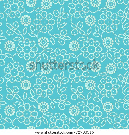 Floral seamless pattern in blue - stock photo