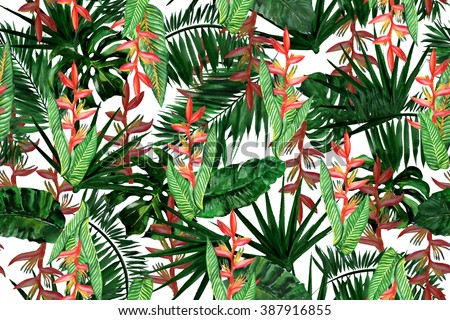 Floral seamless pattern isolated on a white. Watercolor painting tropical background with exotic plants and leaves. - stock photo