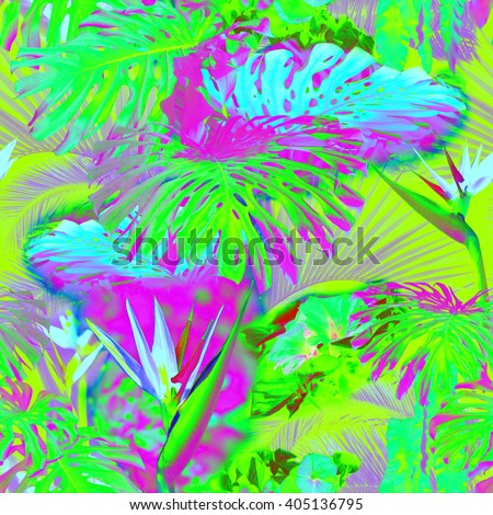 Floral seamless pattern neon color with effect soft focus and blur background. Artistic tropical raiforest background. - stock photo