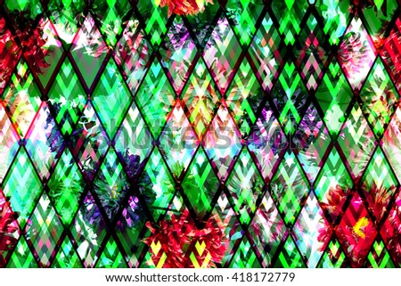 Floral seamless pattern on a geometric background. Diagonal ornament with blossom flowers backdrop. - stock photo