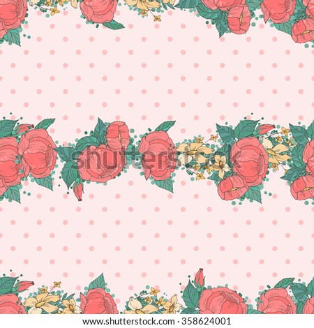 Floral Seamless Pattern. Ornament of Pink Peonies  on Vintage Polka Dot Background. Wrapping Or Digital Paper.