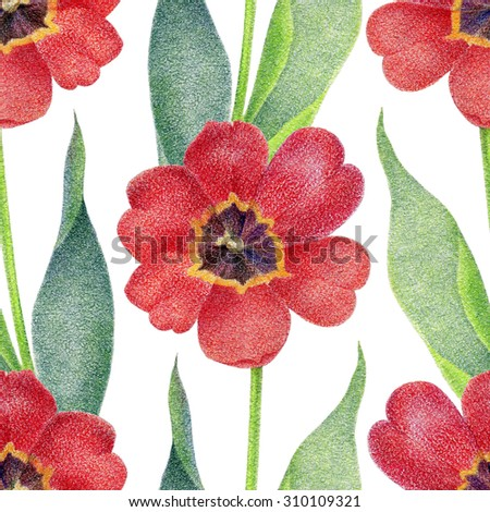 Floral seamless pattern. Red tulips. Pencil illustration - stock photo